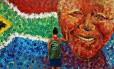 Ídolo. A figura de Nelson Mandela é reproduzida nas ruas da Cidade do Cabo