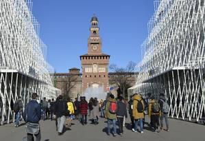 Expo Gate, showroom da Expo 2015 em frente ao Castelo Sforzesco, no Centro de Milão, na Itália Foto: Cristina Massari / Agência O Globo