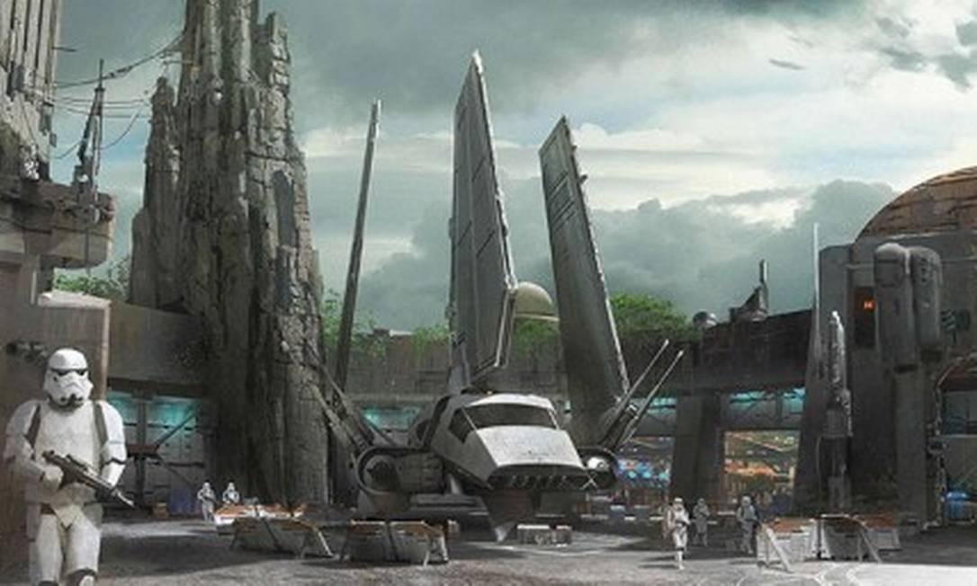 Disney divulga imagens de Star Wars Themed Lands, que estão sendo construídas nos parques da Flórida e da Califórnia Foto: Reprodução/Walt Disney World Resorts