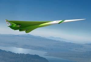 O desenho ilustra projeto para o avião supersônico de passageiros que está sendo desenvolvido pela Lockheed Martin para a Nasa Foto: Reprodução/NASA/Lockheed Martin