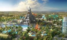 Vulcão será o símbolo do parque aquático Volcano Bay, no Universal Orlando Resort Foto: Reprodução