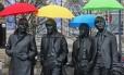 Beatles. Estátua dos integrantes do grupo em Liverpool, cidade onde a banda surgiu e destino de roteiro temático promovido pelo VisitBritain