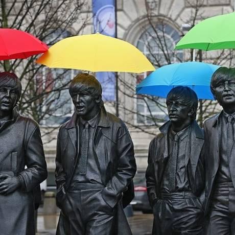 Beatles. Estátua dos integrantes do grupo em Liverpool, cidade onde a banda surgiu e destino de roteiro temático promovido pelo VisitBritain Foto: Gareth Jones / Gareth Jones/Divulgação/Visit Britain