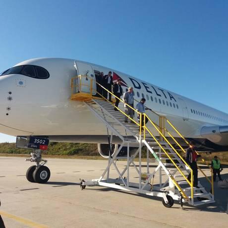 Novo A350 da Delta Air Lines, que vai estrear na rota Detroit-Narita fez voo experimental em Atlanta Foto: Eduardo Maia/Agência O Globo
