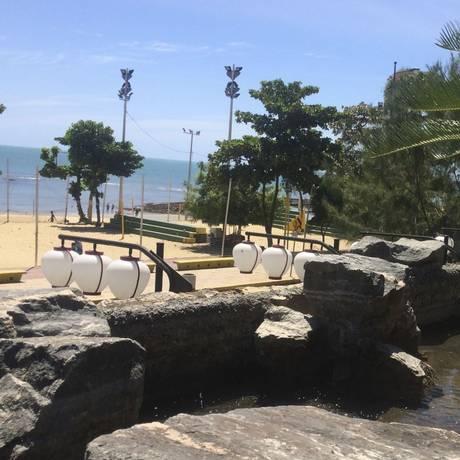 Zen. O jardim japonês tem vista privilegiada para o mar de Fortaleza Foto: Prefeitura de Fortaleza/Divulgação