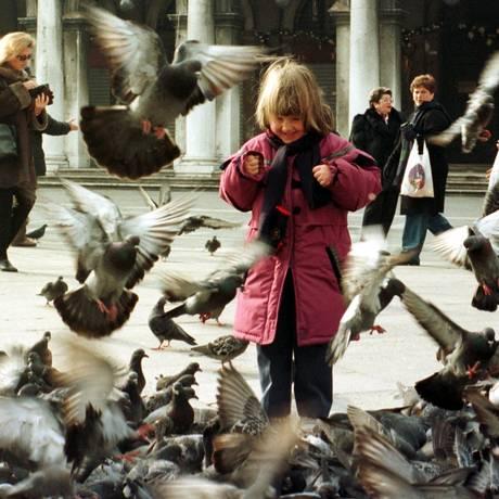 Veneza. Para tentar diminuir a superpopulação de pombos, a prefeitura multa quem alimenta as aves Foto: Reuters