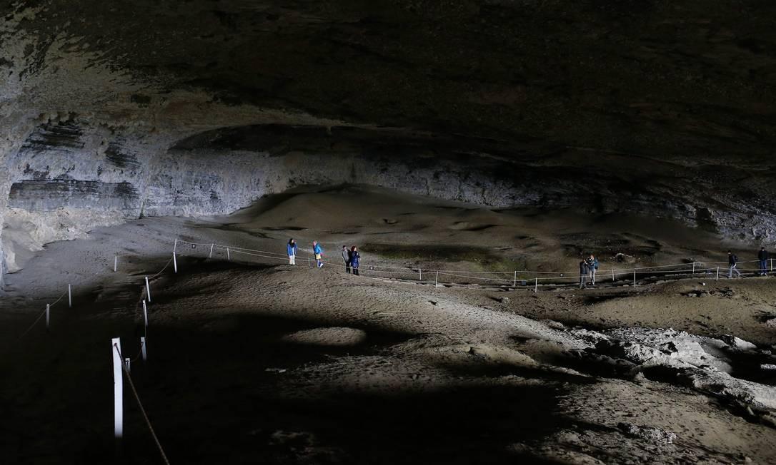 Cueva del Milodón, gruta foram encontrados fósseis de um animal extinto ha 11 mil anos, fica a 24 Km da cidade de Puerto Natales, na região da Patagônia chilena Foto: Edilson Dantas / Agência O Globo