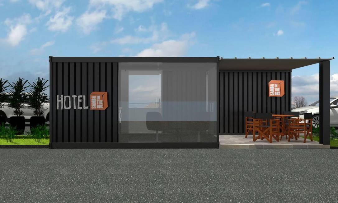 Modelo do Hotel Samba in the Box, instalado em contêiner, que será apresentado na Abav Expo 2018 Foto: Reprodução