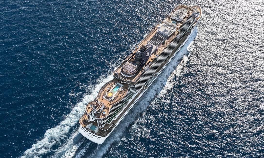 O navio de cruzeiros MSC Seaview visto de cima Foto: Ivan Sarfatti / Divulgação