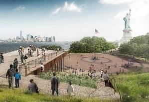 Imagem mostra como será o Museu da Estátua da Liberdade, que será inaugurado em março, em Nova York Foto: FXCollaborative / Divulgação