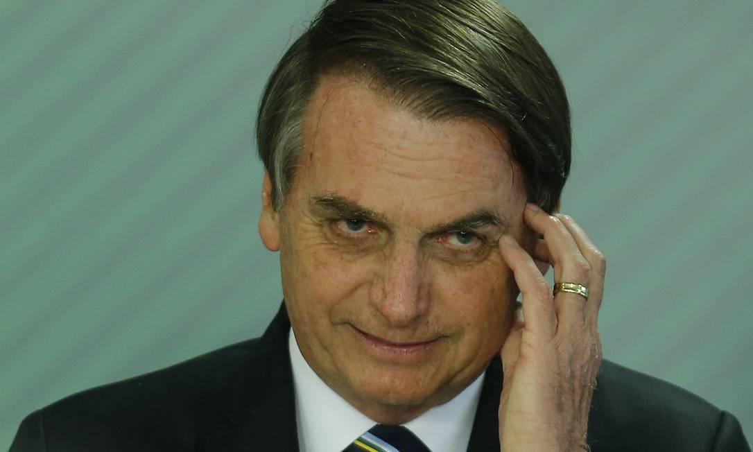 O presidente Jair Bolsonaro na posse do ministro da Educação, Abraham Weintraub Foto: Jorge William/09-04-2019