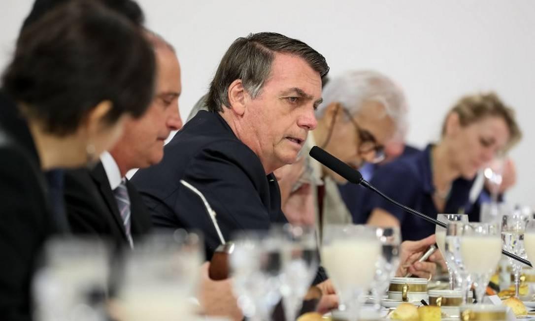 Bolsonaro em encontro com correspondentes internacionais em Brasília Foto: MARCOS CORREA/AFP