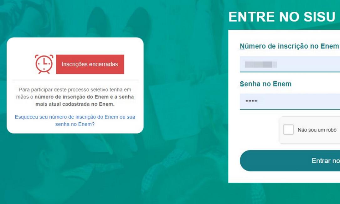 Captura de tela feita por Henrique José, que está tentando entrar no portal desde as 9h da manhã Foto: Arquivo Pessoal