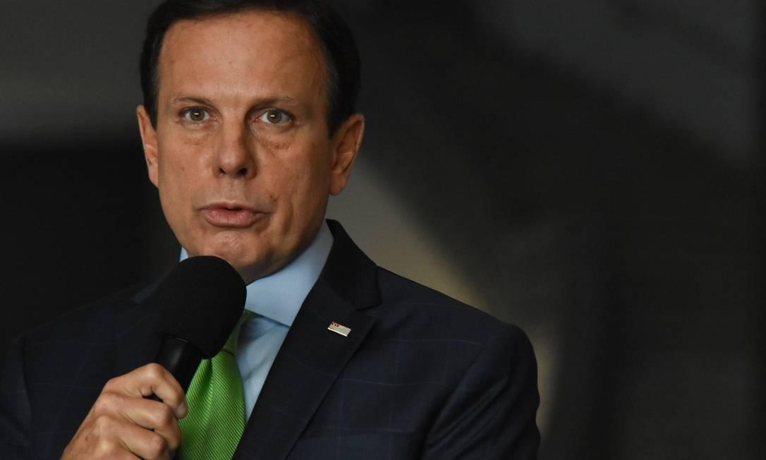 O governador João Doria anuncia medidas de combate ao coronavírus Foto: Fotoarena / Agência O Globo