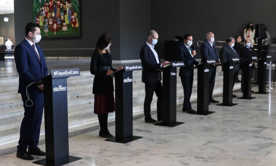O prefeito Bruno Covas e o governador João Doria atualizaram nesta tarde a situação da pandemia em São Paulo Foto: Photo Premium / Agência O Globo