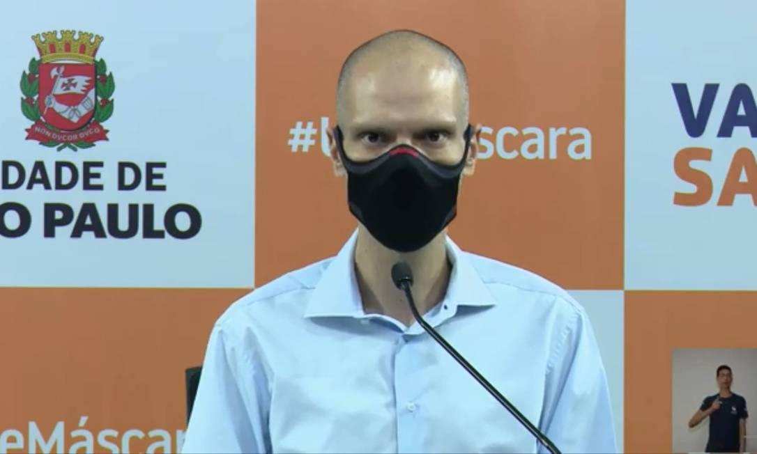 O prefeito de São Paulo, Bruno Covas, durante apresentação do novo inquérito sorológico Foto: Reprodução / Prefeitura SP