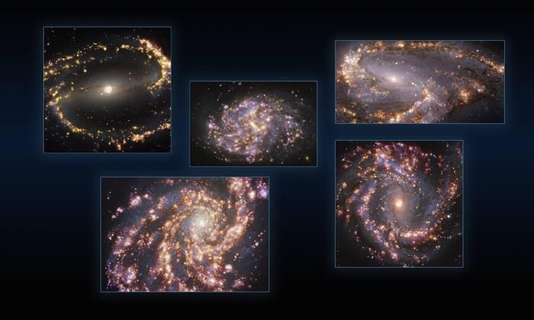 Galáxias NGC 1300, NGC 1087, NGC 3627 (em cima, da esquerda para a direita), NGC 4254 e NGC 4303 (embaixo, da esquerda para a direita) obtidas com o instrumento Muse Foto: ESO / HANGS
