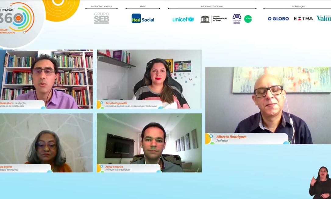 """Os participantes da mesa """"Nada será como antes?"""", no Educação 360 Internacional Foto: Reprodução"""