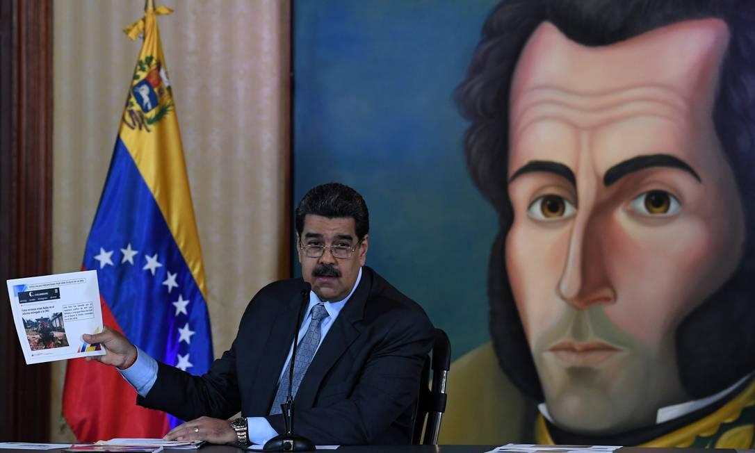 O atual presidente, Nicolas Maduro: Venezuela vive crise sem precendentes há alguns anos Foto: YURI CORTEZ / AFP