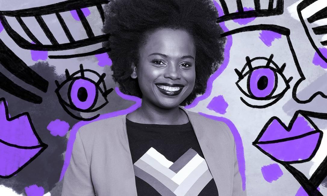 Mulher negra e empreendedora, Luana Genot trabalha para promover a igualdade racial dentro de empresas Foto: Foto de divulgação/ Ilustração: Lari Arantes