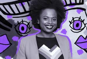 Mulher negra e empreendedora, Luana Genot trabalha para promover a igualdade racial dentro de empresas Foto: Ilustração: Lari Arantes / Foto de divulgação