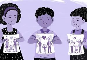 Novas configurações familiares ressignificam o Dia dos Pais, celebram a diversidade e mostram que a felicidade não cabem em um só formato Foto: Arte de Nina Millen
