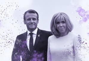 O presidente francês, Emmanuel Macron, ao lado da primeira-dama, Brigitte Macron Foto: AFP