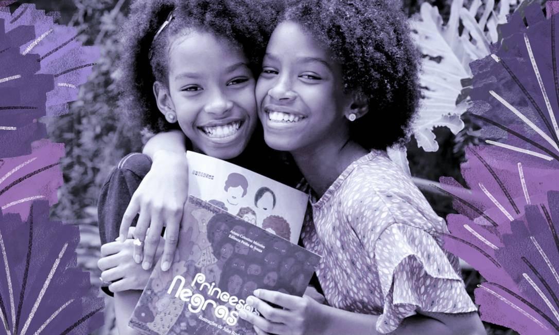 As irmãs gêmeas Eduarda e Helena Ferreira, que comandam o canal Pretinhas Leitoras. Foto: Domingos Peixoto com arte Ana Luiza Costa / Agência O Globo