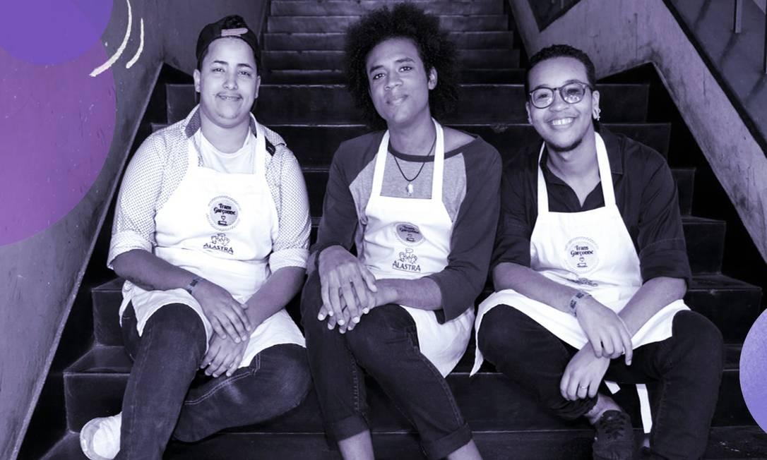 Da esquerda para a direita: Deryk Lorran, Maya Maria Catana e Samuel Oliveira, do projeto Transgarçonne Foto: Marcos Ramos / Agência O Globo