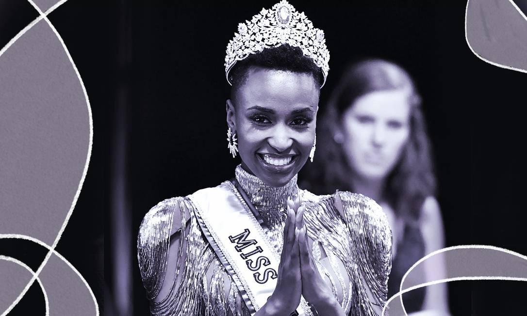 Zozibini Tunzi, a Miss Universo 2019: 'Eu cresci num mundo em que uma mulher com a minha pele, a minha aparência e o meu cabelo não era considerada bonita. Quero que as crianças enxerguem o reflexo dos seus rostos no meu' Foto: Arte de Clara Brandão sobre foto de AFP