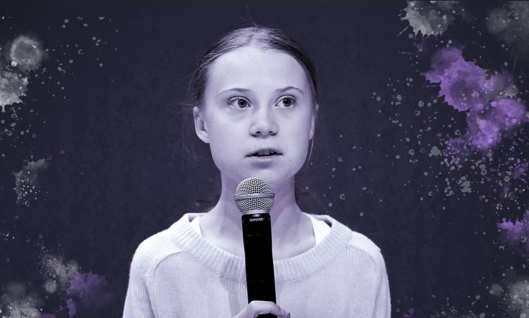 Após ser atacada pelo presidente Jair Bolsonaro, Greta Thunberg alterou a biografia no Twitter para 'pirralha' Foto: Arte de Ana Luiza Costa sobre foto de AFP
