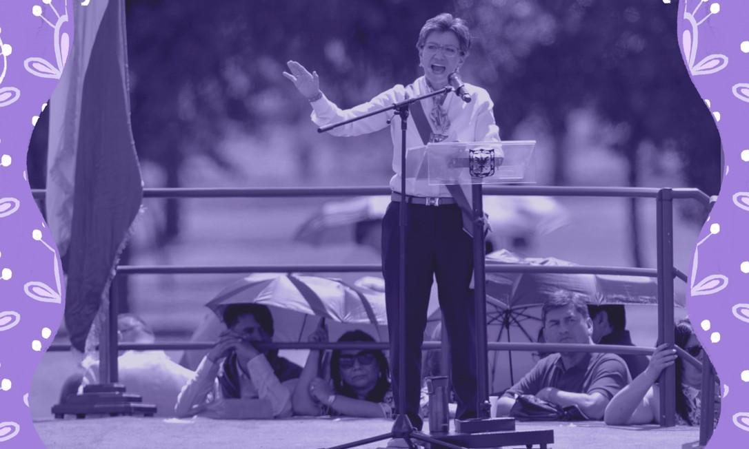 Na cerimônia de posse, Claudia Lopez, que é lésbica e de origem popular, enfatizou sua eleição em um país historicamente governado por homens das elites liberais e conservadoras Foto: Arte sobre foto de Raul Arboleda/AFP