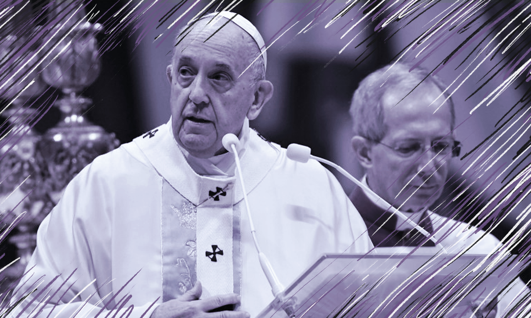 Na primeira missa de 2020, Francisco afirmou que 'toda a violência infligida às mulheres é uma profanação de Deus' e pediu desculpas por ter 'perdido a paciência' com fiel Foto: Arte sobre foto da AFP