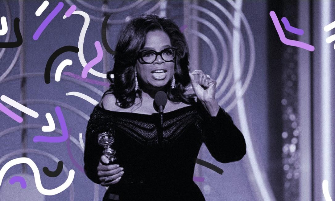 Em 2018, a apresentadora e atriz Oprah Winfrey fez um discurso emocionante ao se tornar a primeira mulher negra a receber o Prêmio Cecil B.DeMille, que homenageia artistas pelo sua contribuição no mundo do entretenimento Foto: Arte de Clara Brandão sobre foto da Reuters
