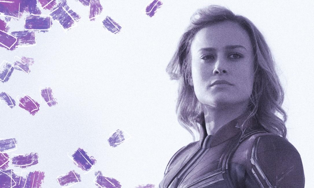 Capitã Marvel, protagonizado por Brie Larson (foto) e dirigido por Anna Boden e Ryan Fleck, arrecadou mais de US$ 1 bilhão na bilheteria mundial Foto: Arte de Clara Brandão sobre foto de Divulgação