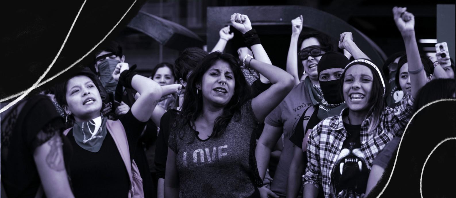 """Manifestantes no bairro de Roma, na Cidade do México, reproduzem a performance """"Um violador no seu caminho"""", que se tornou um hino internacional da nova onda de ativismo feminista Foto: Toya Sarno Jordan / The New York Times"""