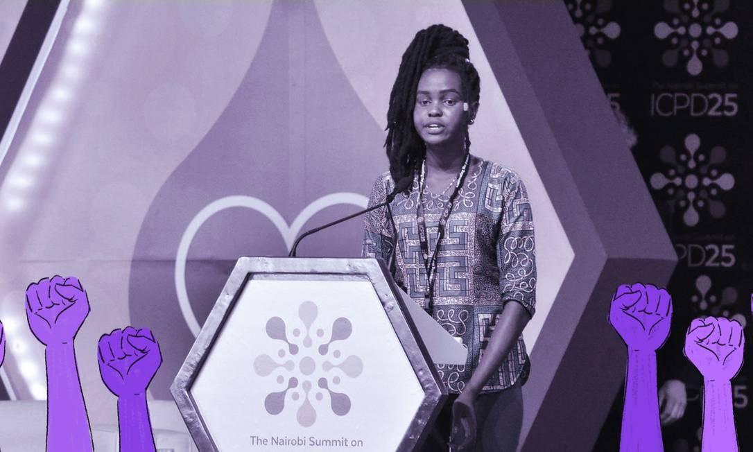Prescilla Nyamal, de 19 anos, fugiu de um casamento arranjado por dinheiro quando tinha 14 anos, com um homem 30 anos mais velho Foto: Arte sobre foto de Divulgação/UNFPA