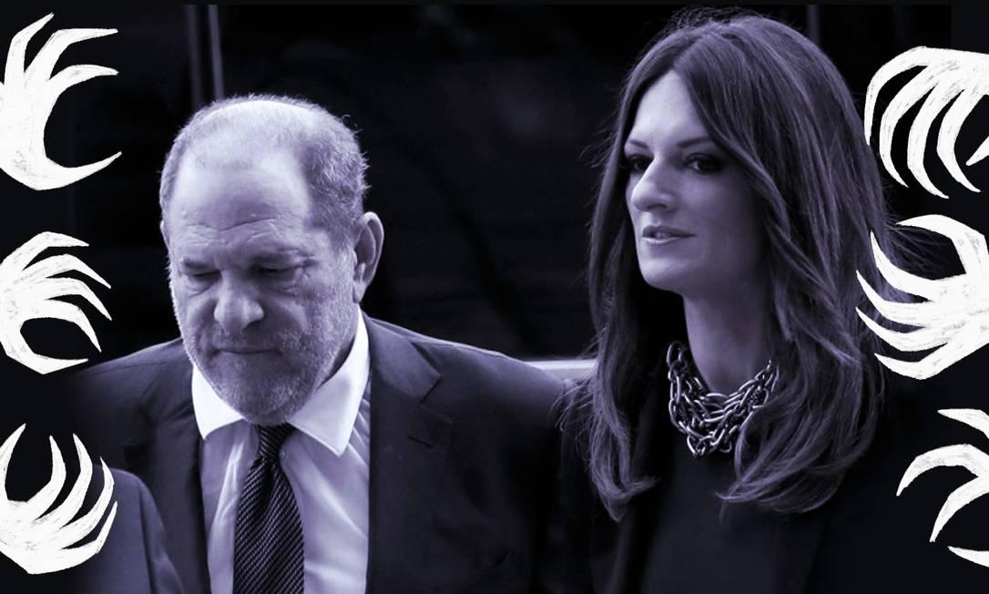 A advogada Donna Rotunno lidera o time de defesa do ex-produtor Harvey Weinstein nas duas acusações de estupro que começaram a ser julgadas nesta semana, em Nova York Foto: Arte de Clara Brandão sobre foto de Mike Segar/Reuters
