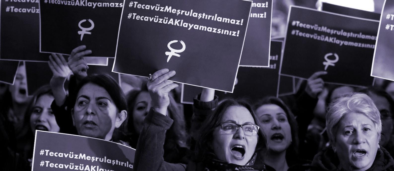 'O estupro não pode ser legalizado': o grito das mulheres da Turquia contra projeto de lei que propõe anistiar homem que esturprar menor e depois se casar com ela Foto: Reprodução/Independent