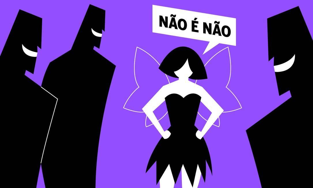 Agentes de segurança podem ser acionados para auxiliar mulheres vítimas de assédio nos blocos de rua Foto: Arte de Ana Luiza de Oliveira Costa