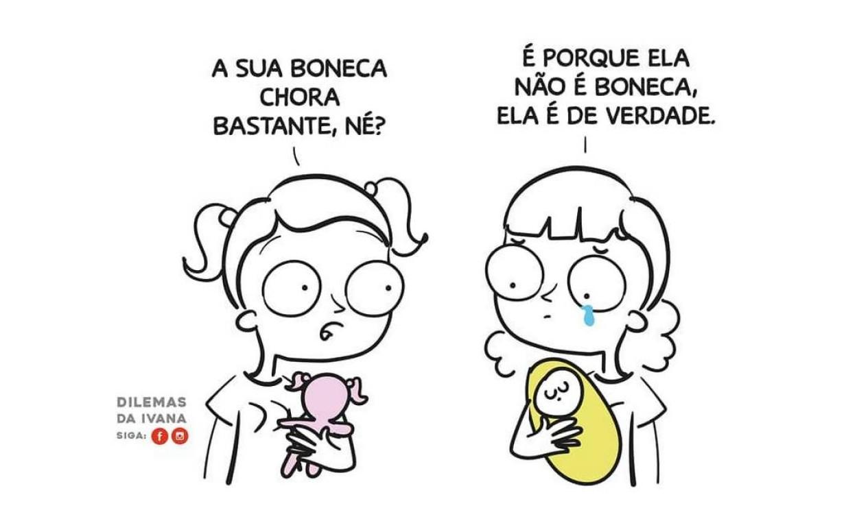 Na ilustração, Ivana Amarante Bombana, conhecida como Dilemas da Ivana, reflete sobre as consequências da gravidez na infância. Foto: Arquivo Pessoal / Arquivo Pessoal