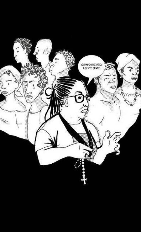 Uma das ilustrações do quadrinho Indivisível, feito por Marz, que discorre sobre a identidade negra presente no bairro da Liberdade, em São Paulo. Foto: Marz / Marz