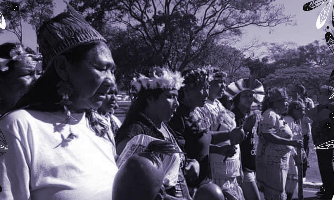 Mulheres indígenas do Movimento das Mulheres Guarani Kaiowá kunhangue Aty em manifesta??o contra a violência Foto: Divulga??o