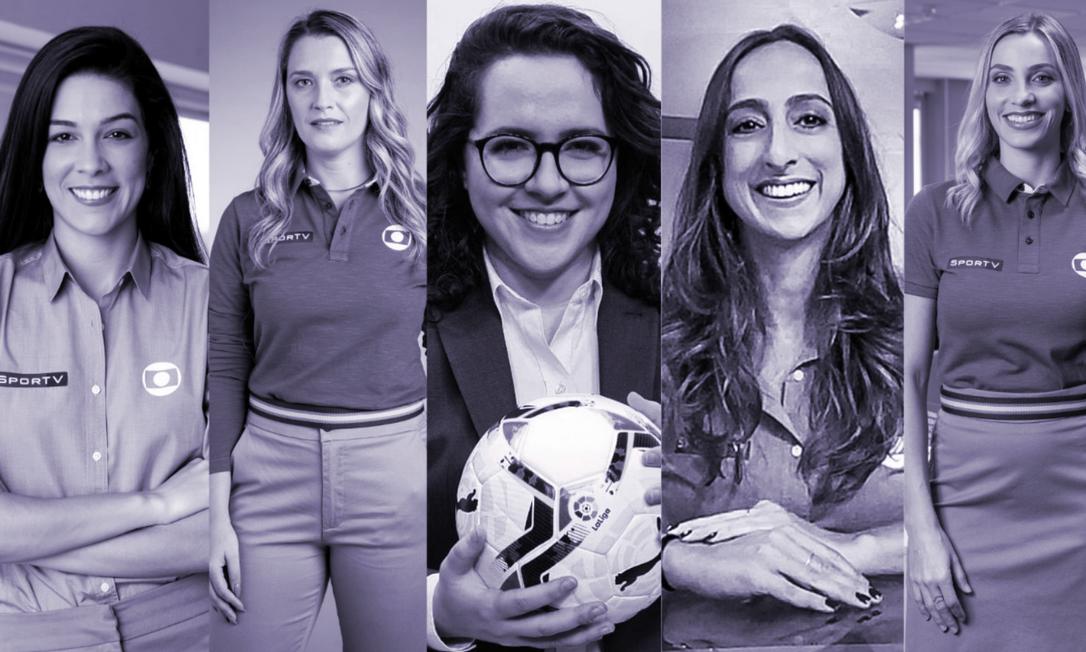 Renata Silveira, Ana Thais Matos, Natália Lara, Renata Mendonça e Fernanda Colombo formam o time de narradoras e comentarista do esporte da Globo, no Brasileirão 2021 Foto: Divulgação