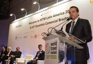 Ministro do Turismo, Henrique Eduardo Alves, discursa na abertura da World Travel Market Latin America 2015, em São Paulo Foto: Thamyres Souza/Ministério do Turismo/Divulgação