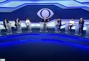 Candidatos à Presidência no debate da Band Foto: Reprodução