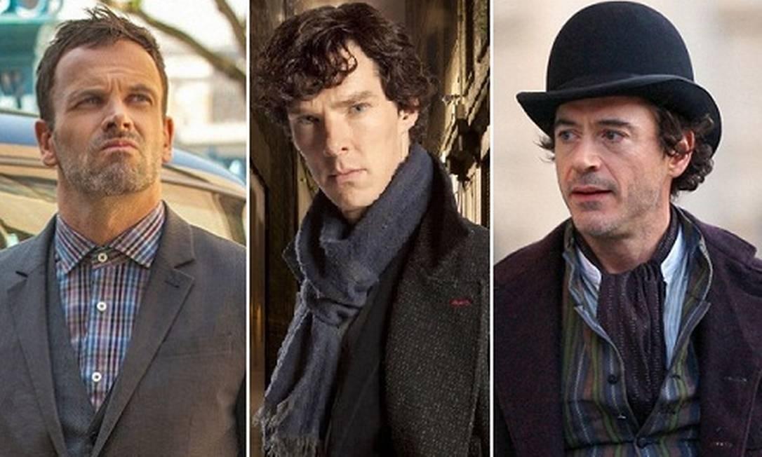 Jonny Lee Miller, Benedict Cumberbatch e Robert Downey Jr como Sherlock Holmes Foto: Reprodução