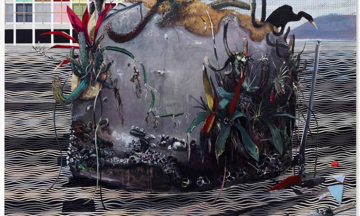 'Medusa' (2011). Em acrílica sobre tela, a obra foi exposta na feira Miami Basel e comprada por um colecionador. Junto com 'Pedra punk' (2012) e 'Erosão' (2014), ocupa a segunda sala da mostra 'Luiz Zerbini - Pinturas' Foto: Divulgação