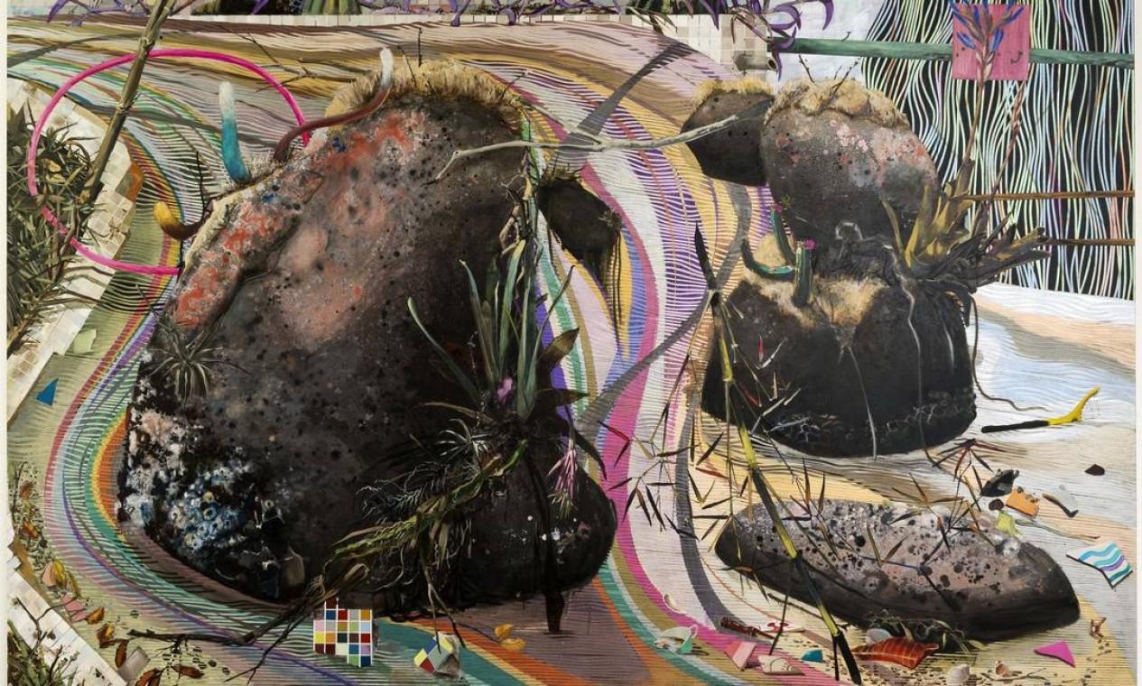 'Pedra punk' (2012). Exposta numa galeria em Londres no ano passado, esta tela foi comprada por um colecionador particular. É a primeira vez em que é vista pelo público no Brasil Foto: Divulgação