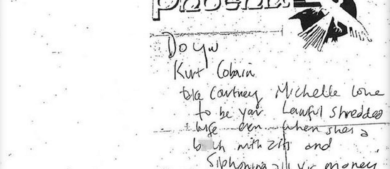 Anotação foi descoberta na carteira de Kurt Cobain, após ele ser encontrado morto Foto: Polícia de Seattle / Divulgação